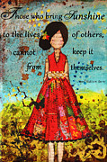 Folk Art Mixed Media Posters - Bring Sunshine Inspirational Christian artwork Poster by Janelle Nichol