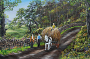 Hayrick Paintings - Bringing Home the Hay by Avril Brand