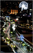 Florescent Lights Prints - Brisbane Night Scene Print by Peggy Dietz