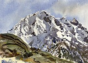 Switzerland Paintings - Bristenstock Mtn by David Gilmore