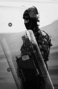 British Army Soldier With Helmet And Shield Riot Gear On Crumlin Road At Ardoyne Shops Belfast 12th  Print by Joe Fox