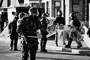 Unrest Framed Prints - British Army soldiers in riot gear on crumlin road at ardoyne shops belfast 12th July Framed Print by Joe Fox