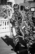 Unrest Framed Prints - British army soldiers in riot gear with fire extinguisher on crumlin road at ardoyne shops belfast 1 Framed Print by Joe Fox