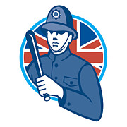 Enforcement Posters - British Bobby Policeman Truncheon Flag Poster by Aloysius Patrimonio