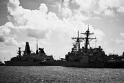 Warships Photos - British Brazilian And Us Navy Warships Mole Pier Key West Harbor Florida Usa by Joe Fox