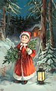 Greeting Card Drawings Posters - British Christmas Card Poster by English School