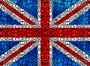 Europe Digital Art Metal Prints - British Flag - Britain England Stone Rockd Art Metal Print by Sharon Cummings