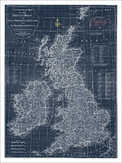Watercolor Map Paintings - British Isles Blueprint Map by WaterColorMaps Chris and Mary Ann