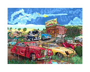 Acrylic Prints Drawings Prints - British Junkyard Field of Dreams Print by Jack Pumphrey