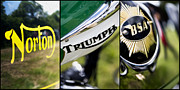 Biking Prints - British Motorcycle Triptych Print by Tim Gainey