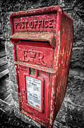 Bricks Prints - British Post Box Print by Adrian Evans