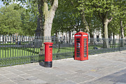 Postboxes Prints - British red letter box and public telephone box in Lo Print by Stefano Baldini