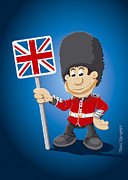 Frank Ramspott Framed Prints - British Royal Guard Cartoon Man Framed Print by Frank Ramspott