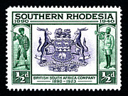 British Empire Posters - British South Africa Company - 1/2d Black Poster by Outpost Imagery