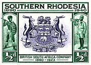 South African Mixed Media Prints - British South Africa Company - 1/2d Crop Print by Outpost Imagery