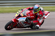 Bmw Racer Photos - British Superbike rider Barry Burrell   by Andrew Harker