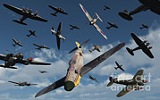 Military Artwork Posters - British Supermarine Spitfires Attacking Poster by Mark Stevenson