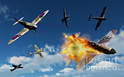 Destruction Digital Art - British Supermarine Spitfires Battle by Mark Stevenson