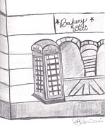 Architecture Drawings Prints - British Telephone Booth   Print by Melissa Vijay Bharwani
