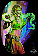 Britney Spears Prints - Britney Neon Dancer Print by Absinthe Art By Michelle LeAnn Scott
