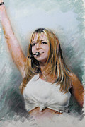 Entertainer Drawings Framed Prints - Britney Spears Framed Print by Viola El