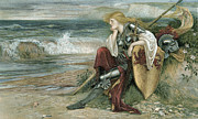 Contemplative Painting Prints - Britomart Print by Walter Crane
