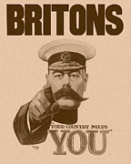 Wwi Mixed Media Metal Prints - Britons Your Country Needs You  Metal Print by War Is Hell Store