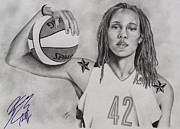 Signed Drawings Prints - Brittney Griner Strength Print by Devin Millington