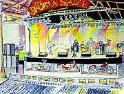 Al Puskaric Drawings Prints - BroadBAND at The Broken Spoke Saloon Print by Albert Puskaric