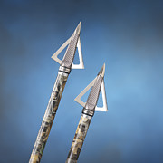 Archery Art - Broadheads on Blue by Jerry McElroy