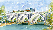 Streetscape Paintings - Broadway Bridge by Pat Katz