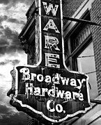 Larry Butterworth Prints - Broadway Hardware Neon Sign Print by Larry Butterworth