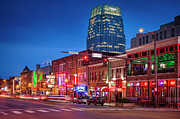 Clubs Photo Framed Prints - Broadway Street Nashville Framed Print by Brian Jannsen