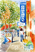 Autumn Scene Painting Prints - Broadway Theatre - Saskatoon Print by Pat Katz