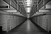 White Walls Metal Prints - Broadway walkway in Alcatraz prison Metal Print by RicardMN Photography