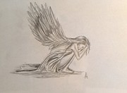 Angelic Drawings - Broken Angel by Shelby Rawlusyk