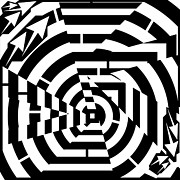 Optical Art Drawings Posters - Broken Circle Maze Poster by Yonatan Frimer Maze Artist