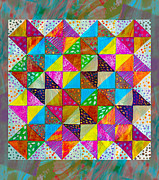 Quilt Blocks Framed Prints - Broken Dishes - Quilt Pattern - Painting 2 Framed Print by Barbara Griffin