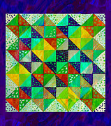 Quilt Blocks Digital Art Prints - Broken Dishes - Quilt Pattern - Painting 3 Print by Barbara Griffin