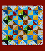 Underground Railroad Paintings - Broken Dishes - Quilt Pattern - Painting by Barbara Griffin