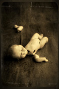 Baby Doll Prints - Broken Doll on Wood Print by Jill Battaglia