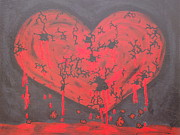 Jennifer Vazquez Metal Prints - Broken Heart abstract painting por tu culpa Metal Print by Jennifer Vazquez