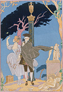 Ancient Ruins Posters - Broken Hearts Broken Statues Poster by Georges Barbier