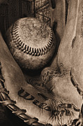 Baseball Close-up Posters - Broken In BW Poster by JC Findley