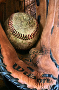 Baseball Closeup Photo Metal Prints - Broken In Metal Print by JC Findley
