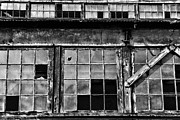 Broken Window Framed Prints - Broken Windows in Black and White Framed Print by Paul Ward