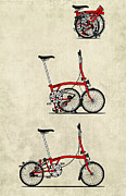 Red Sky Mixed Media Posters - Brompton Bicycle Poster by Andy Scullion