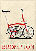 Fixed Gear Posters - Brompton Bike Poster by Andy Scullion