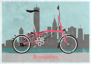 Fixed Gear Posters - Brompton City Bike Poster by Andy Scullion