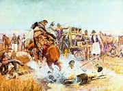 Cowboys Digital Art Metal Prints - Bronc For Breakfast Metal Print by Charles Russell